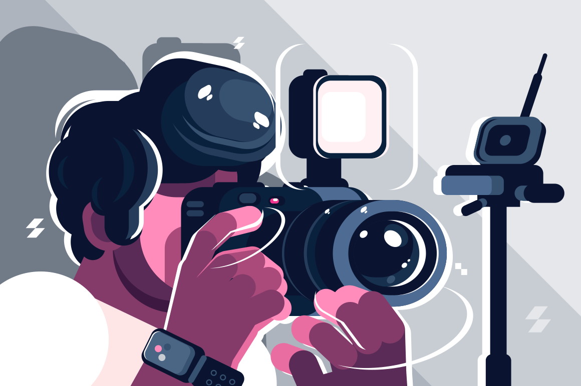 Photographer on studio fashion vector illustration. Creative boy with professional equipment making gorgeous photographs flat style concept. Professional man looking through camera lens on object