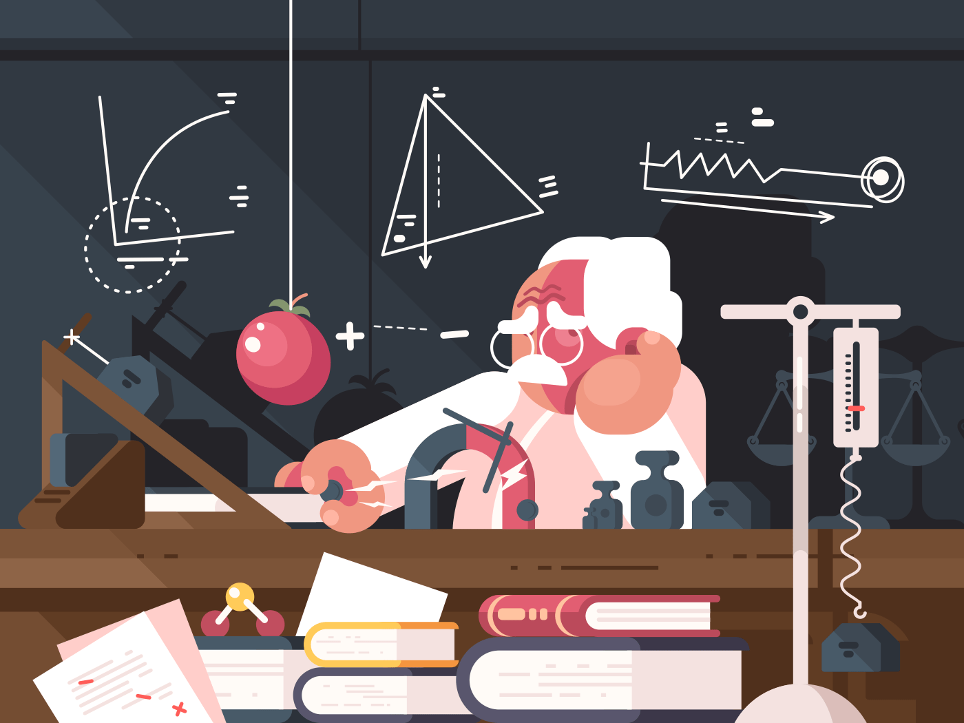 Scientist physics teacher makes scientific tests and experiments. Vector illustration