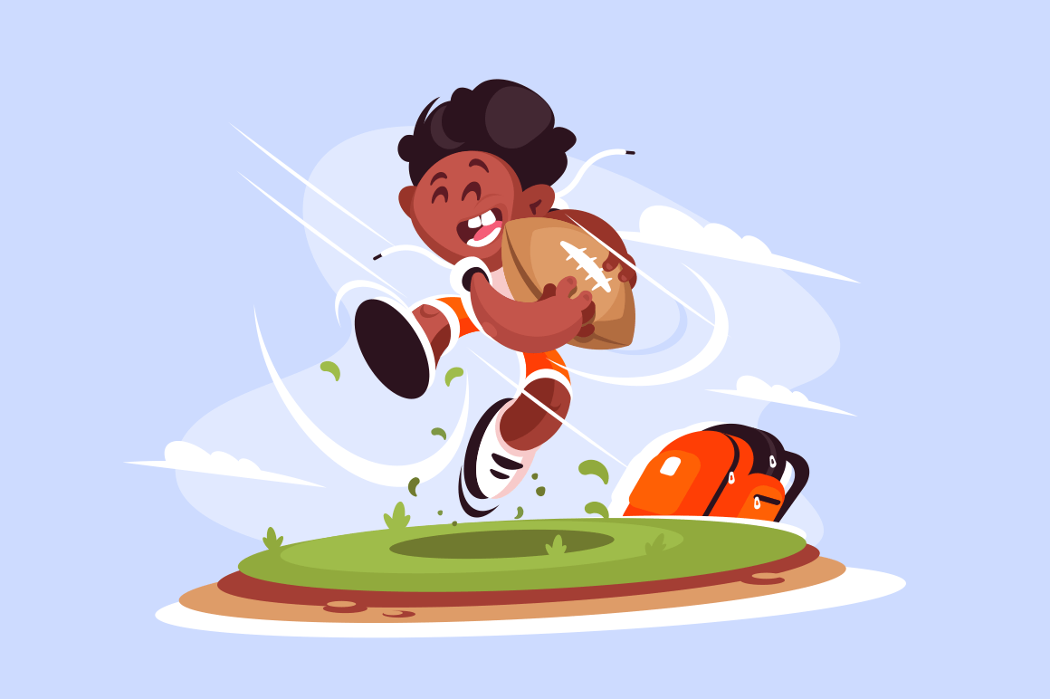 Little boy playing rugby outside vector illustration. Piccaninny rugger player running across field flat style concept. Blue sky and clouds on background