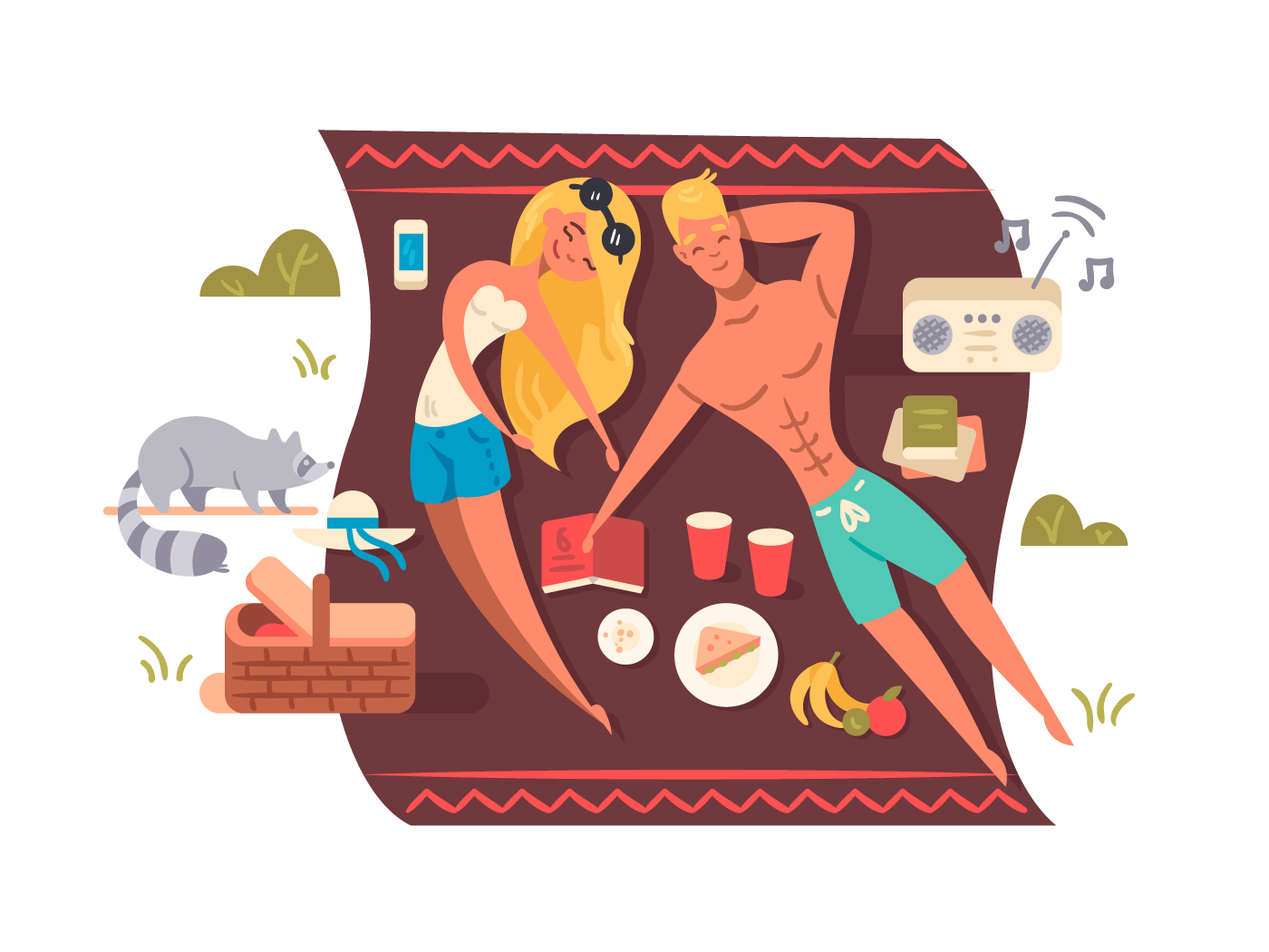 Man and woman training in gym illustrationPicnic in nature park illustration