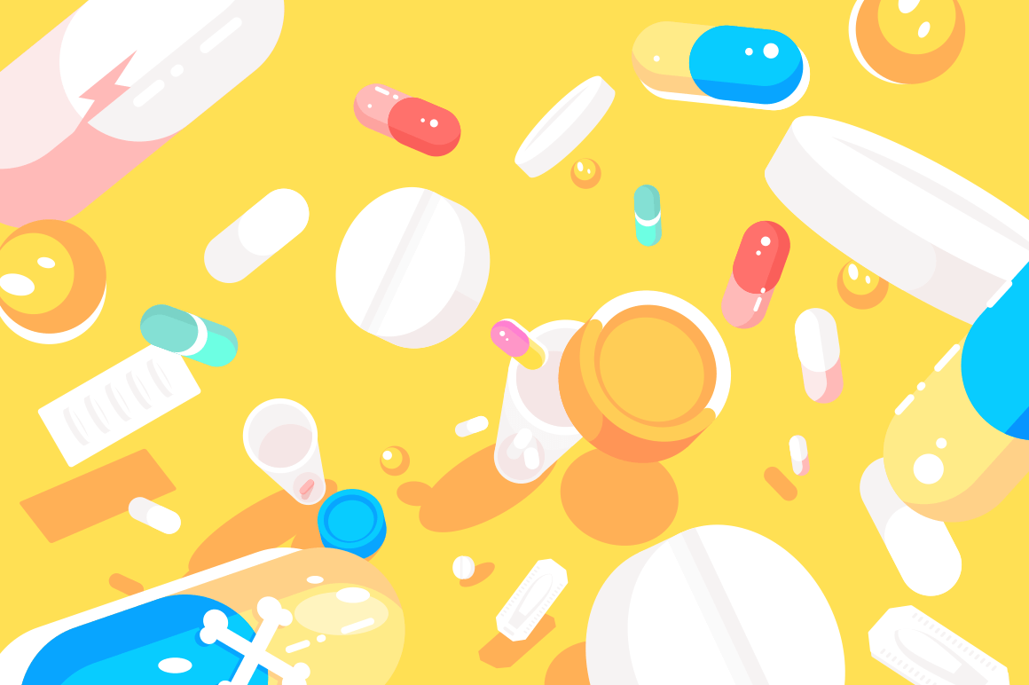 Medical pills tablets capsules flat pattern vector illustration. Drugs in different colors shapes and sizes isolated on yellow background for media print website apps