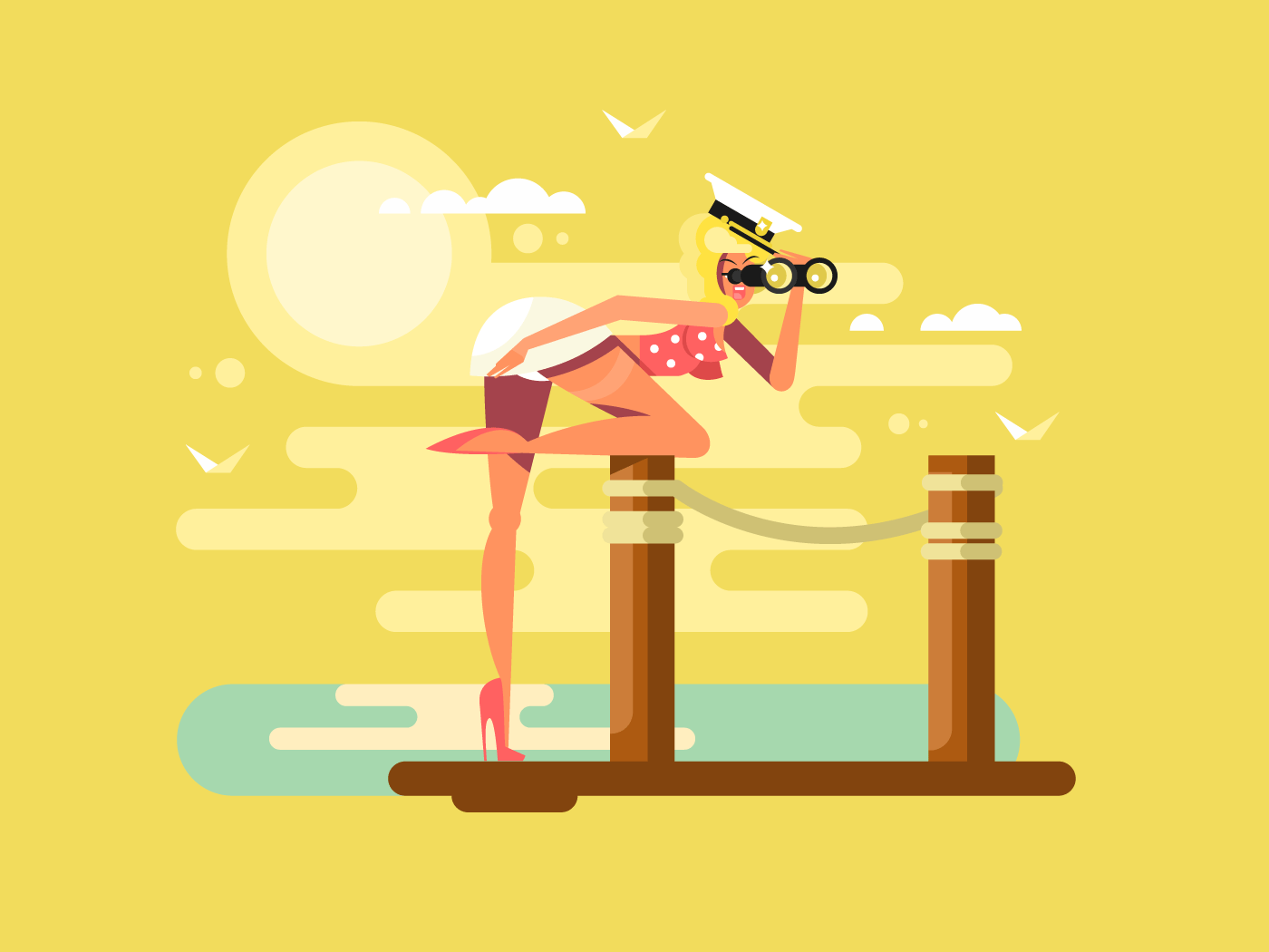 Girl looks binoculars flat vector illustration