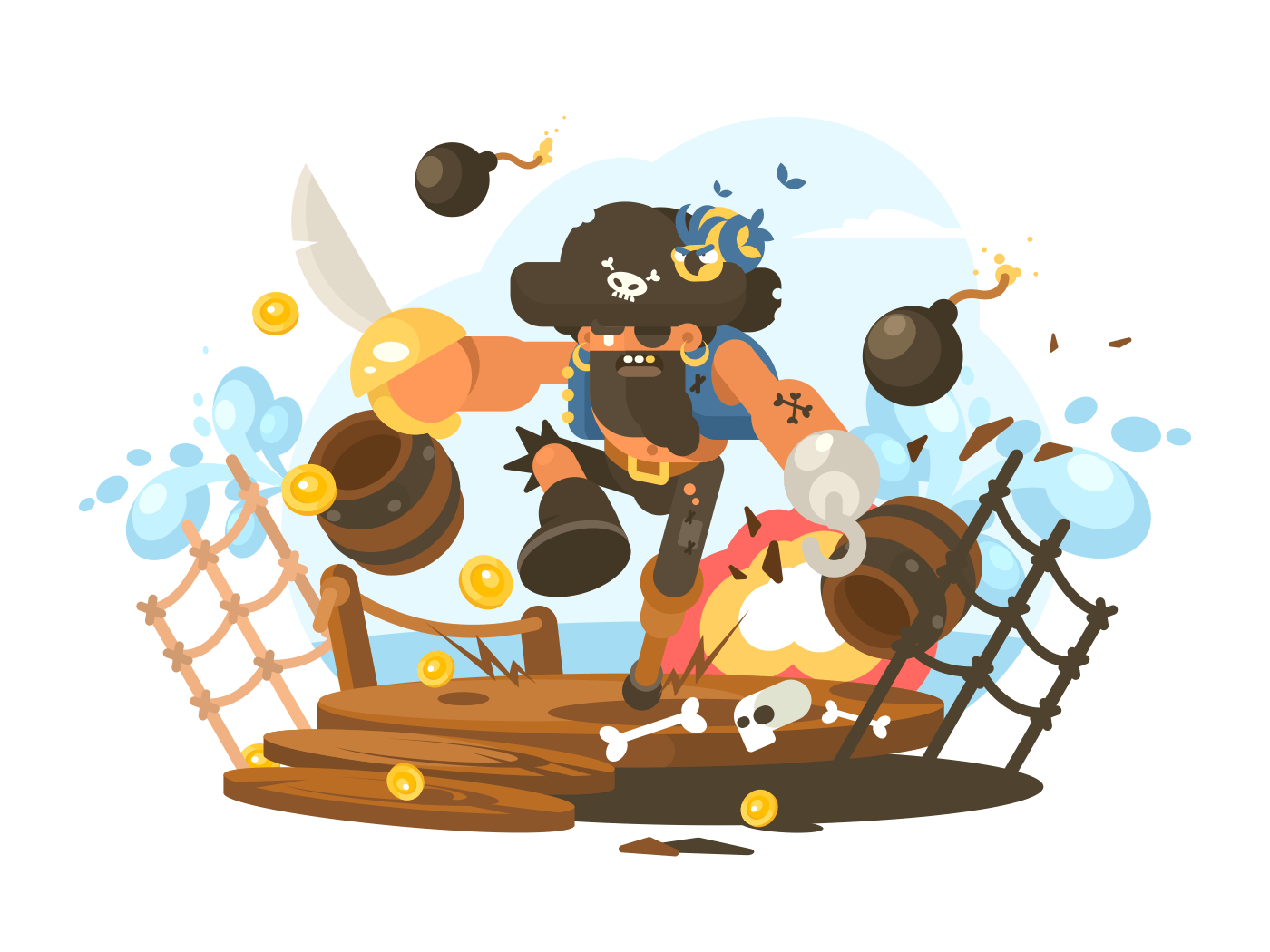 Mad pirate with hook illustration