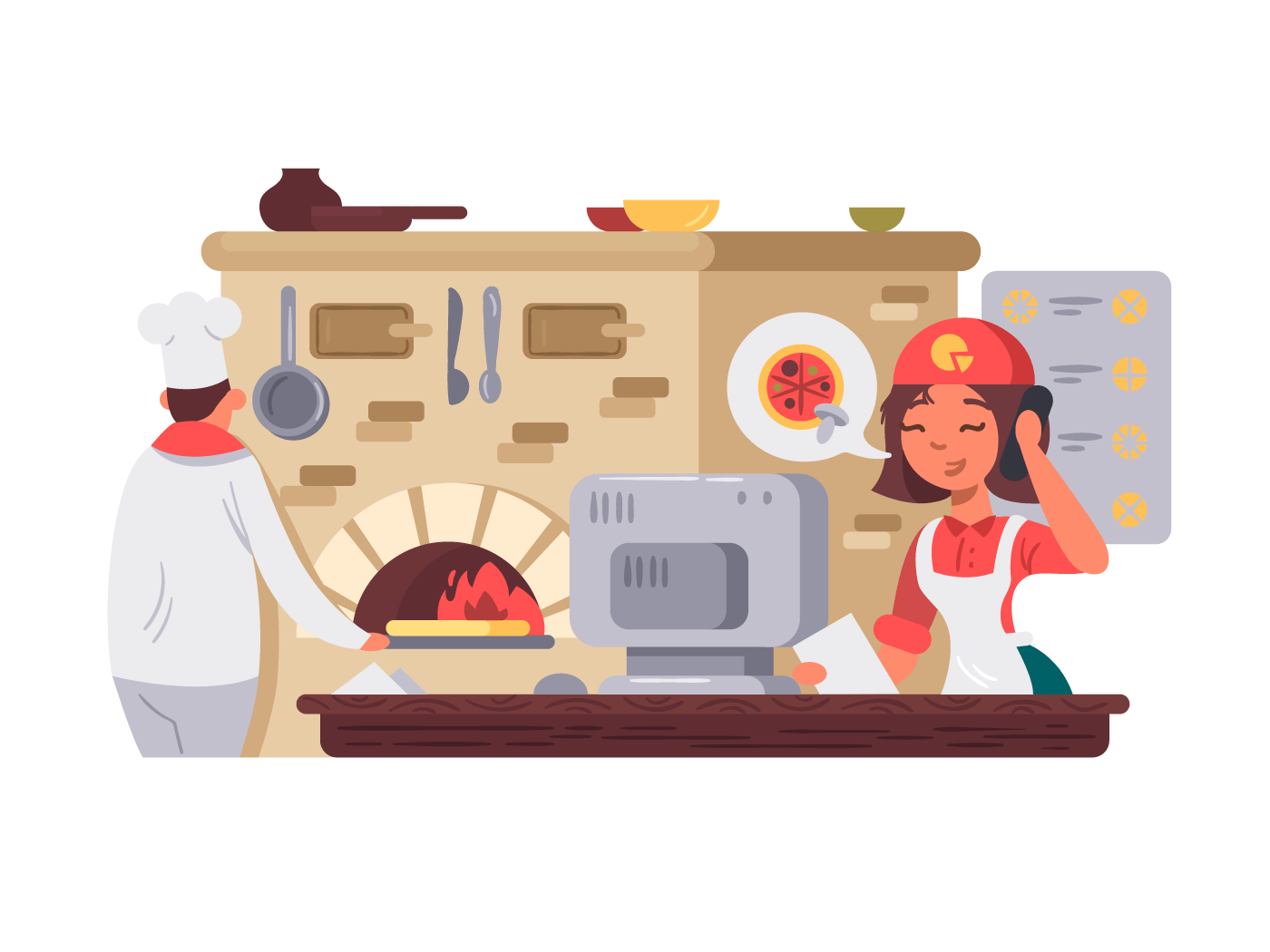 Kitchen in pizzeria. Chef prepares pizza, operator takes order. Vector illustration