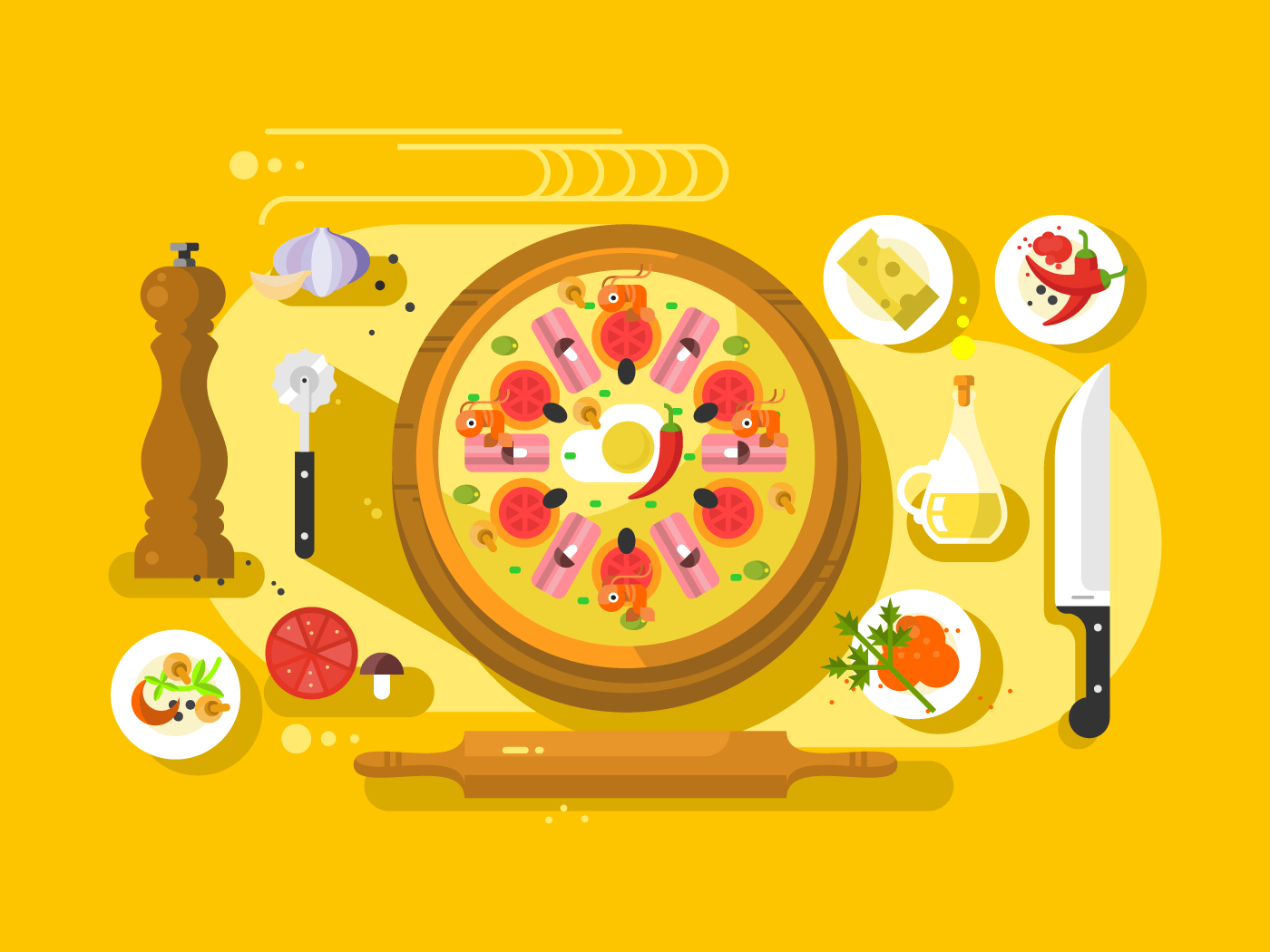 Pizza cooking flat vector illustration