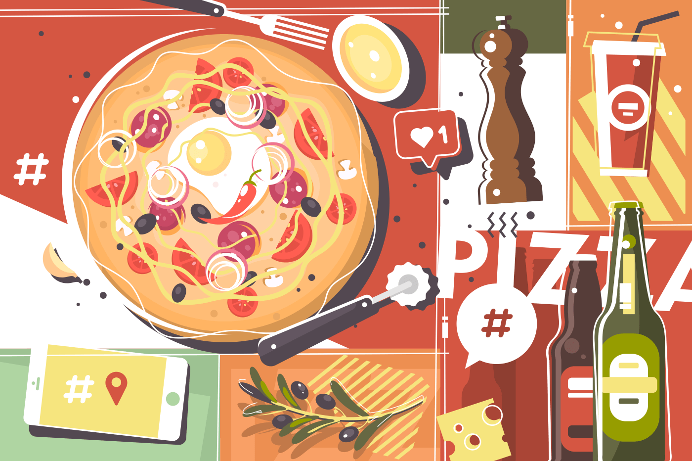 Pizza abstract background. Italian cuisine, olives, drinks and spices. Vector illustration
