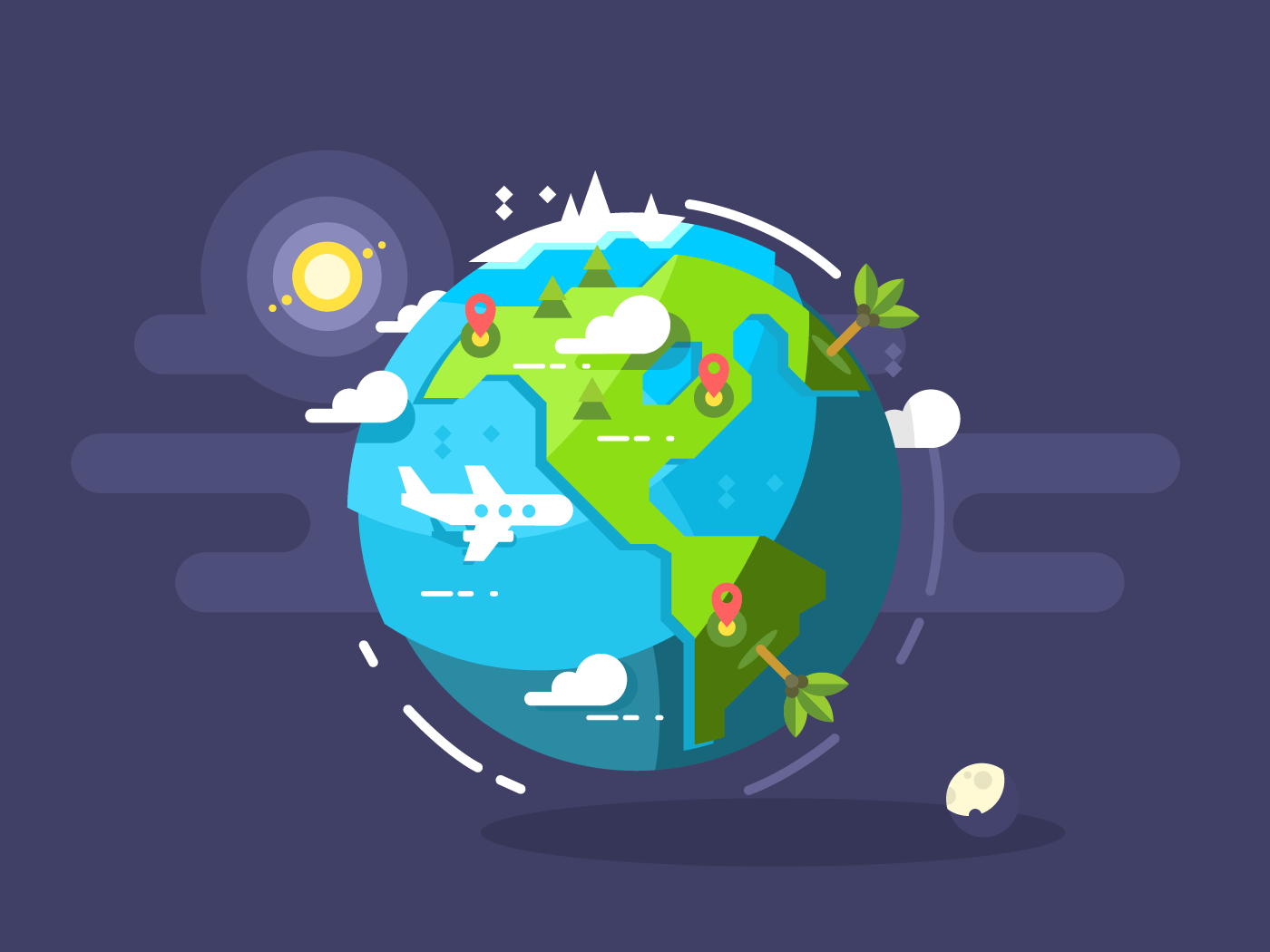 Aircraft flying around the world flat vector illustration