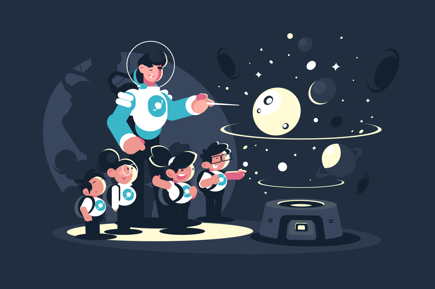 Guide, teacher with school children in planetarium. Concept educational excursion for people on space. Vector illustration.
