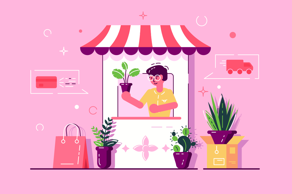 Greenhouse for plants vector illustration. Cartoon man in glasses working at flowers shop flat style concept. Online shopping and delivery services icons. Isolated on pink