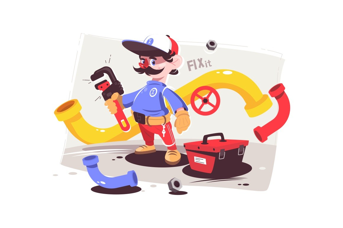 Plumber male master in uniform holding big red wrench vector illustration. Professional equipment for repair pipes cartoon design. Box with special instruments
