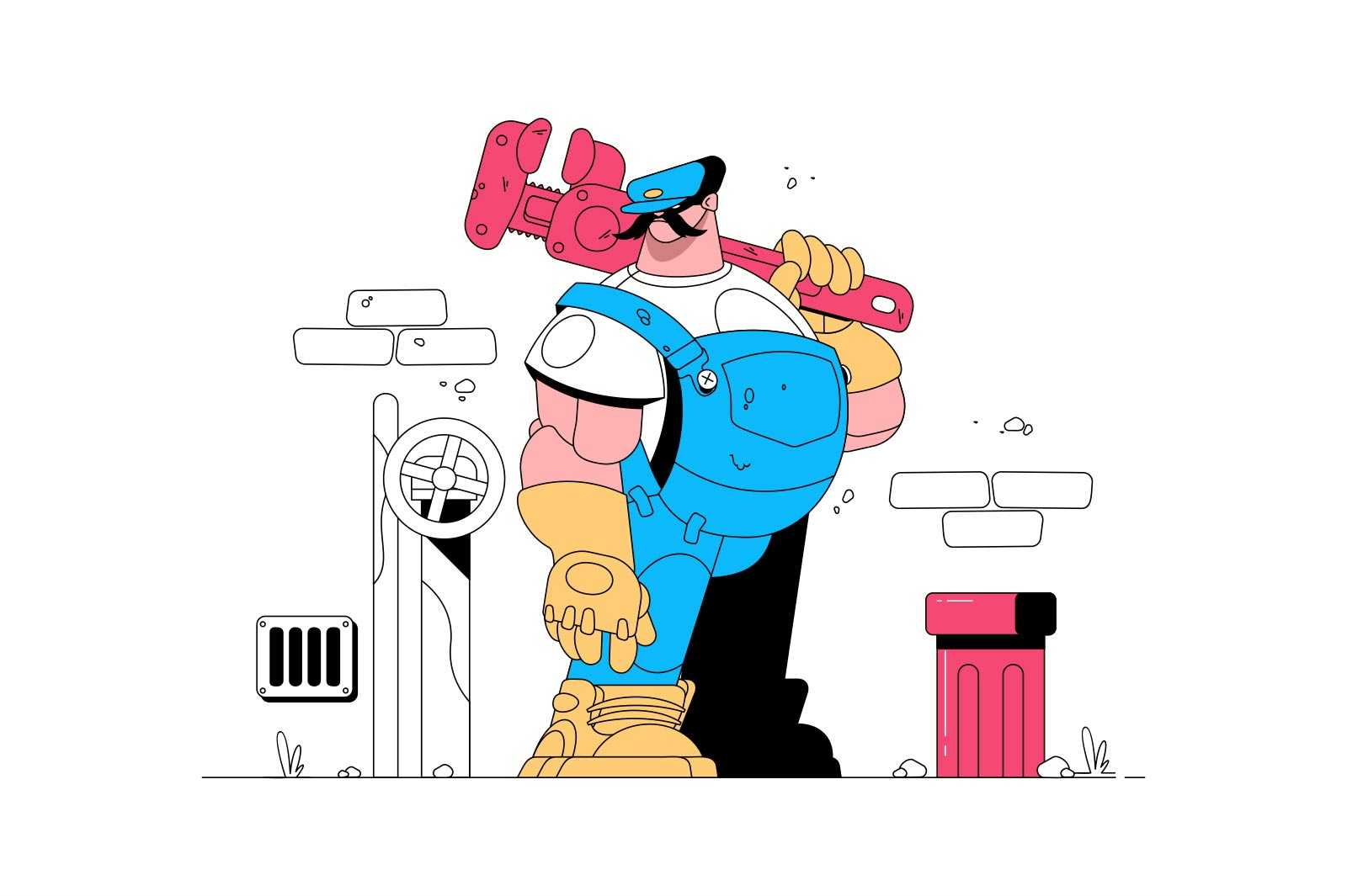 Qualified plumber man vector illustration. Strong person in uniform holding instrument flat style. Handyman and maintenance concept. Isolated on white background