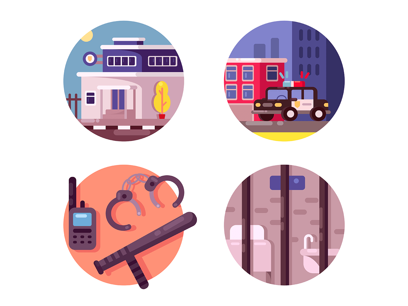 Police department building icons