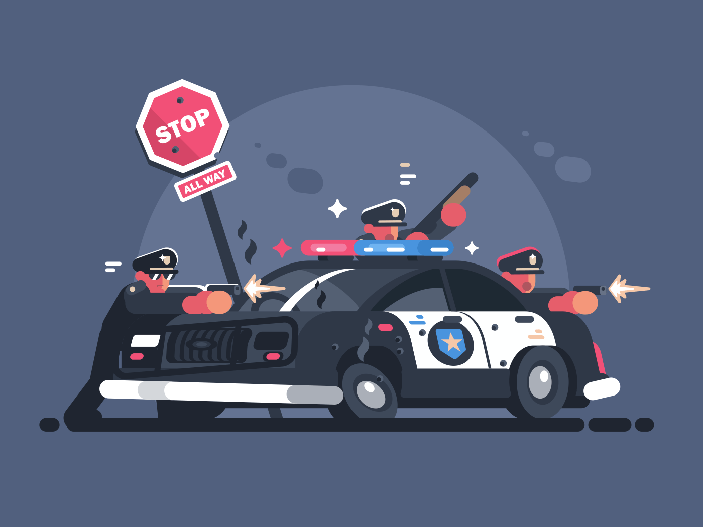 Police patrol fires from behind car. Attack of criminals. Vector illustration