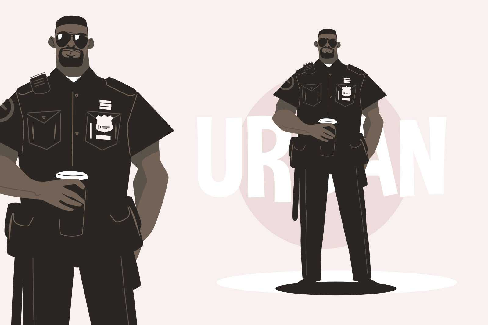 Policeman in uniform vector illustration. Strong male officer in black holding cup of coffee flat style. Authority and guard concept. Isolated on pink background