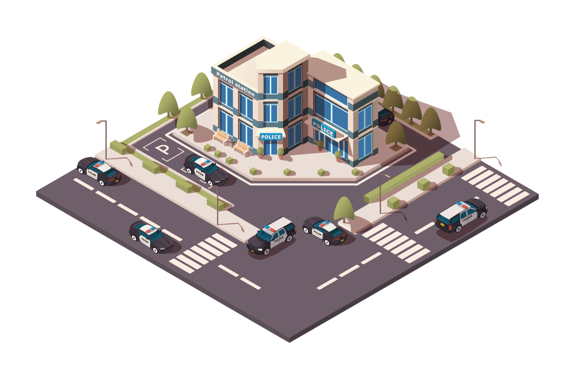 Police station with sedan and jeep car, parking in working day.