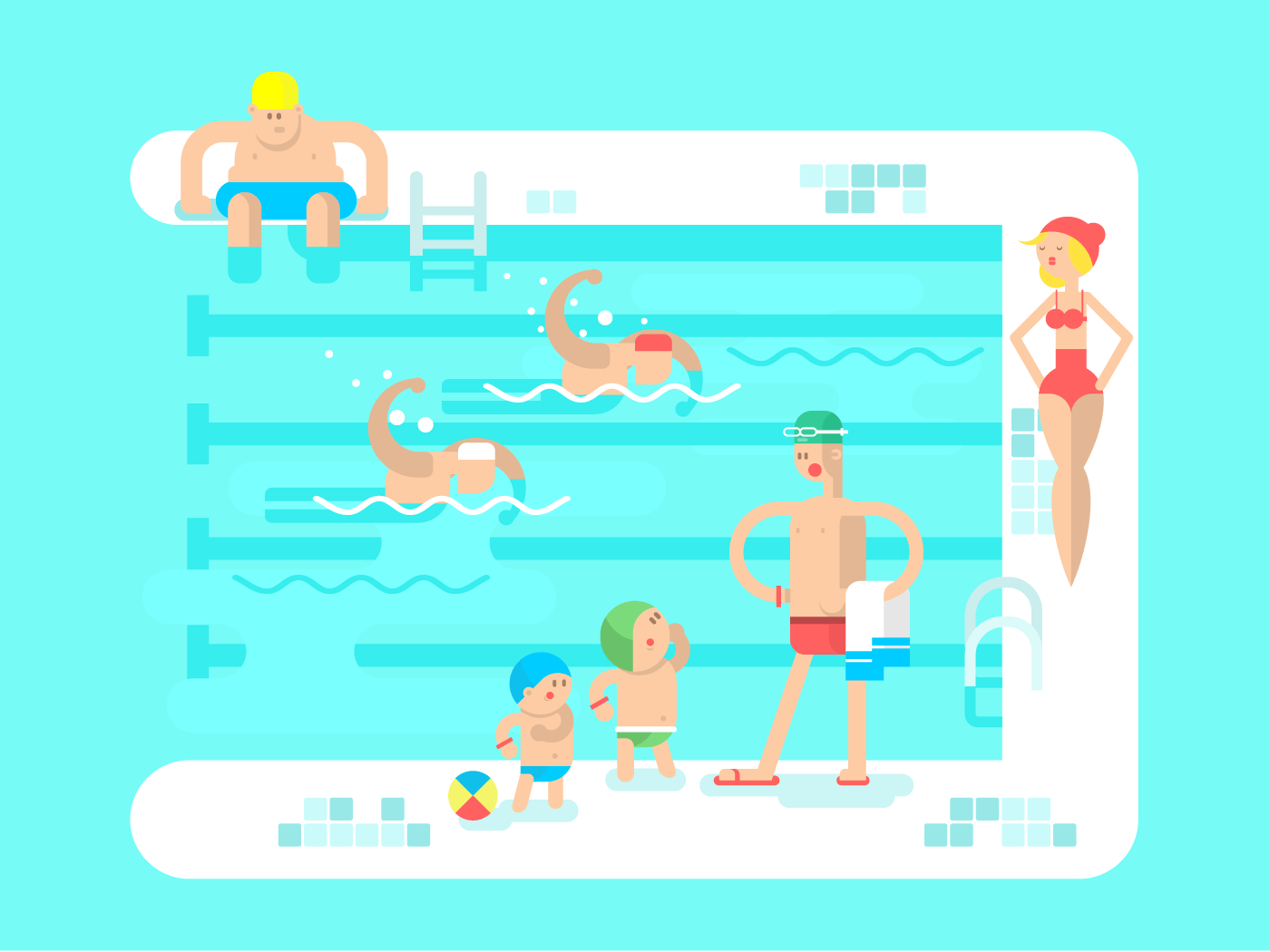 Public swimming pool flat vector illustration