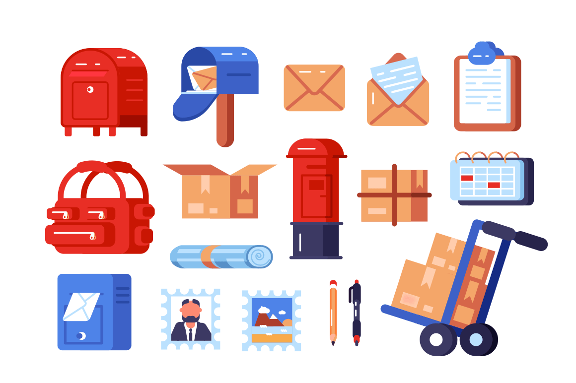 Post office symbols set vector illustration. Composition consists of different postboxes envelopes parcel boxes and stamps flat style concept. Isolated on white