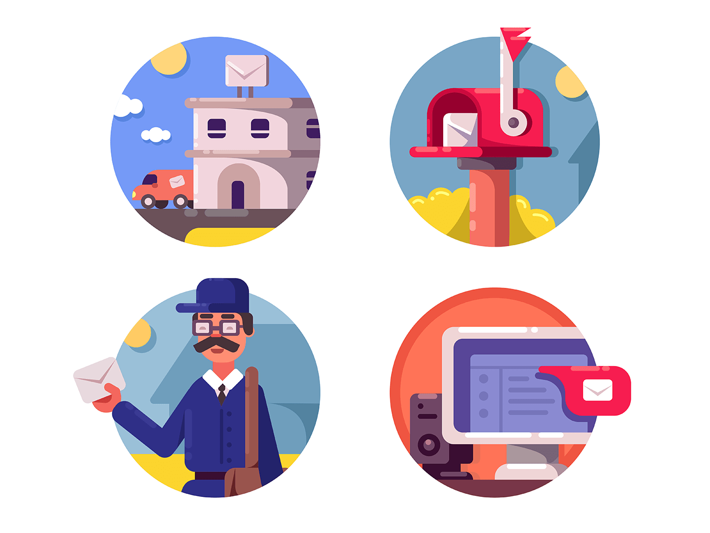 Mail post service icons