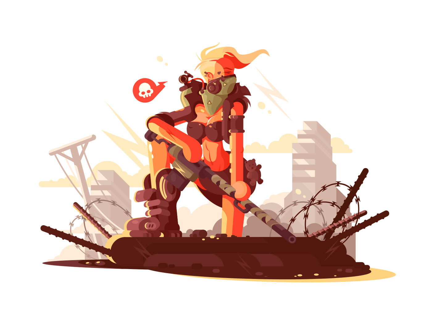 Postapokalipsis girl on ruins illustration