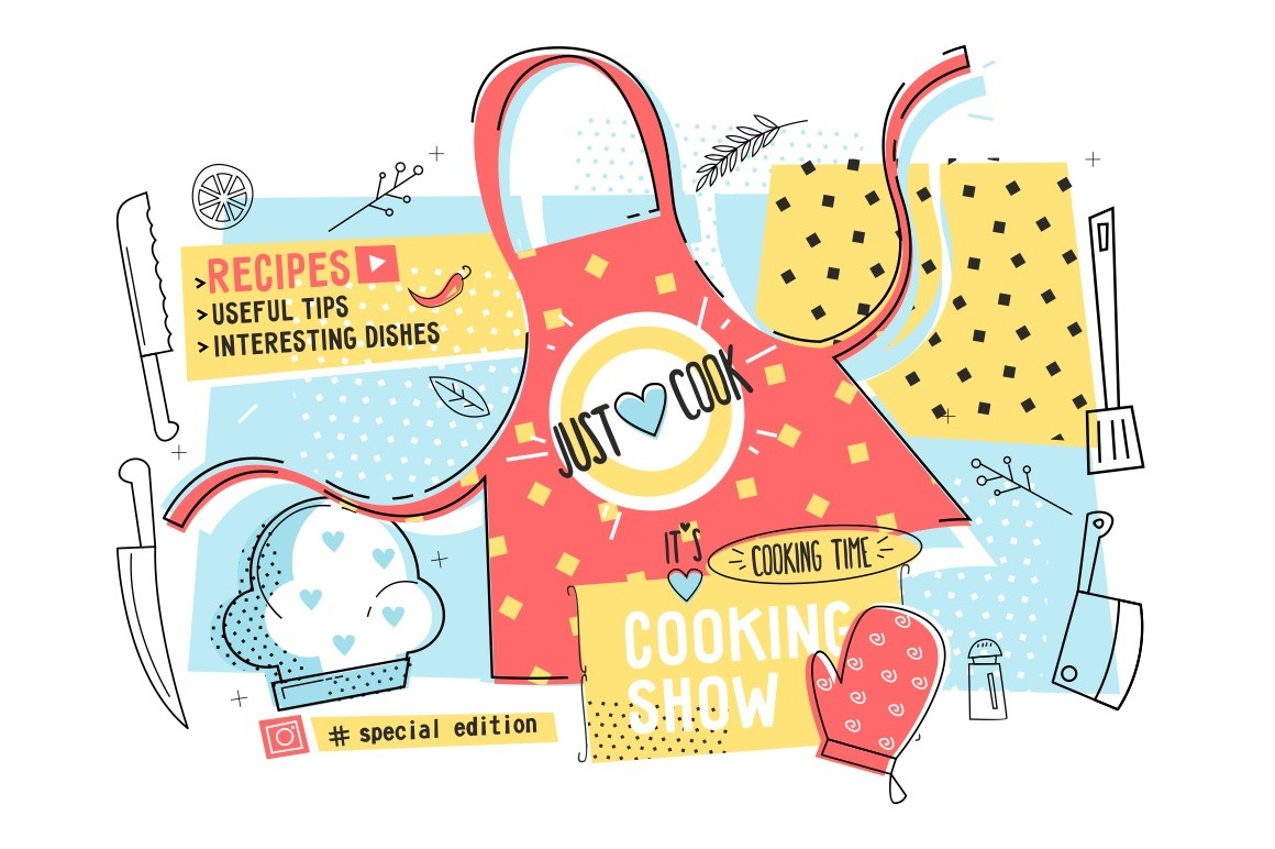 Cooking show and cook time poster vector illustration. Template with kitchen apron, hat, glove and kitchenware flat style concept. Recipes, useful tips, interesting dishes and special edition design