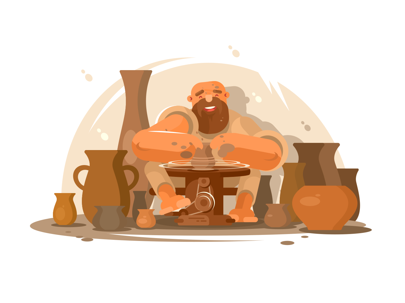 Potter bearded man illustration