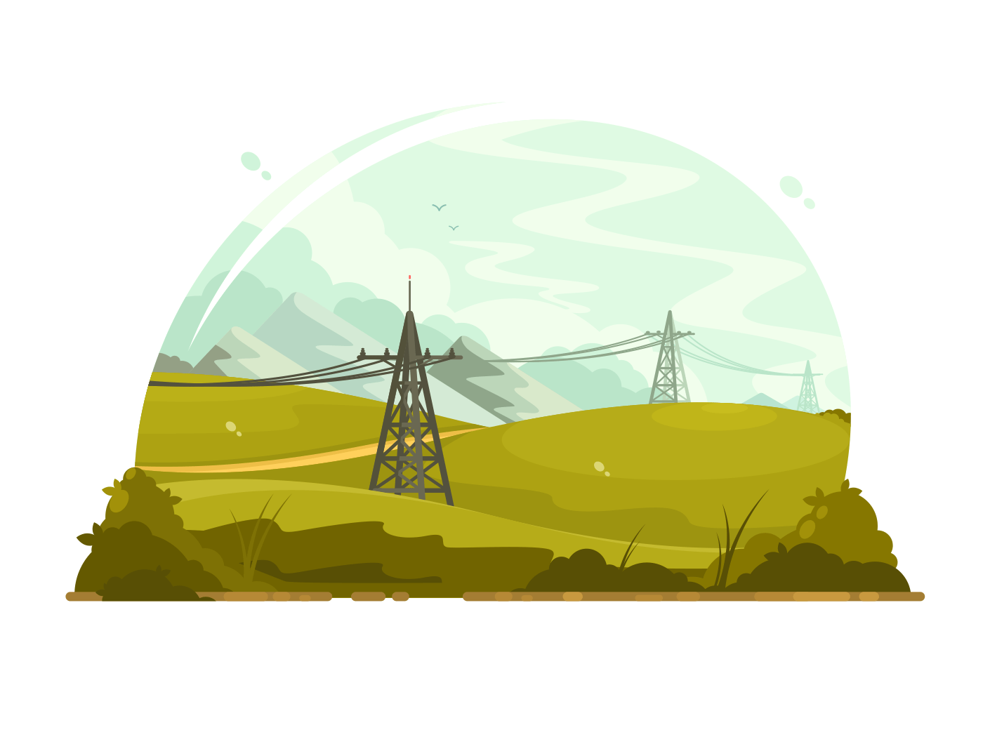 Power lines electricity illustration