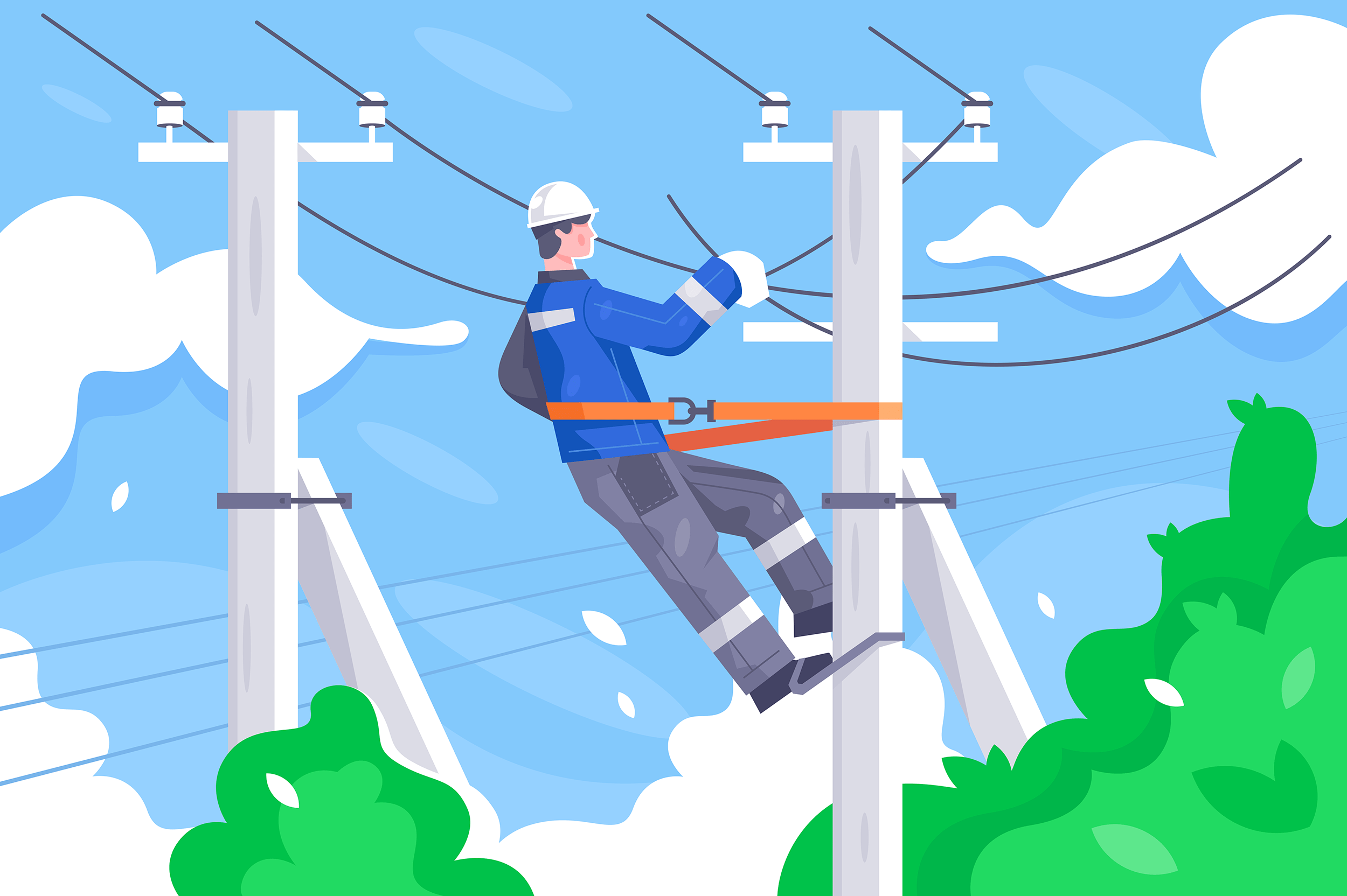 Flat young man employee with power lines repair.