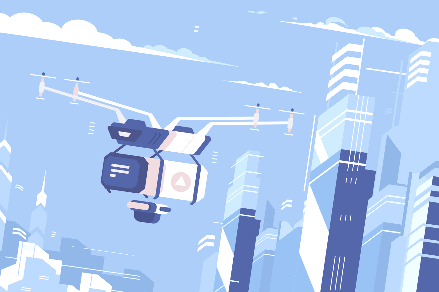 Unmanned drone courier fly delivers parcel to city. Vector illustration
