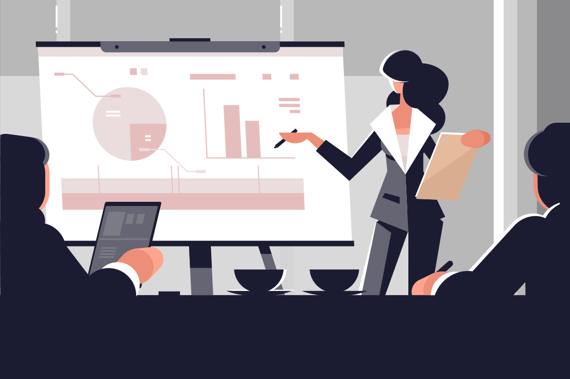 Young woman in business suit making presentation. Cartoon businesswoman explaining charts in conference room at white board vector illustration. Business seminar planning meeting flat style concept