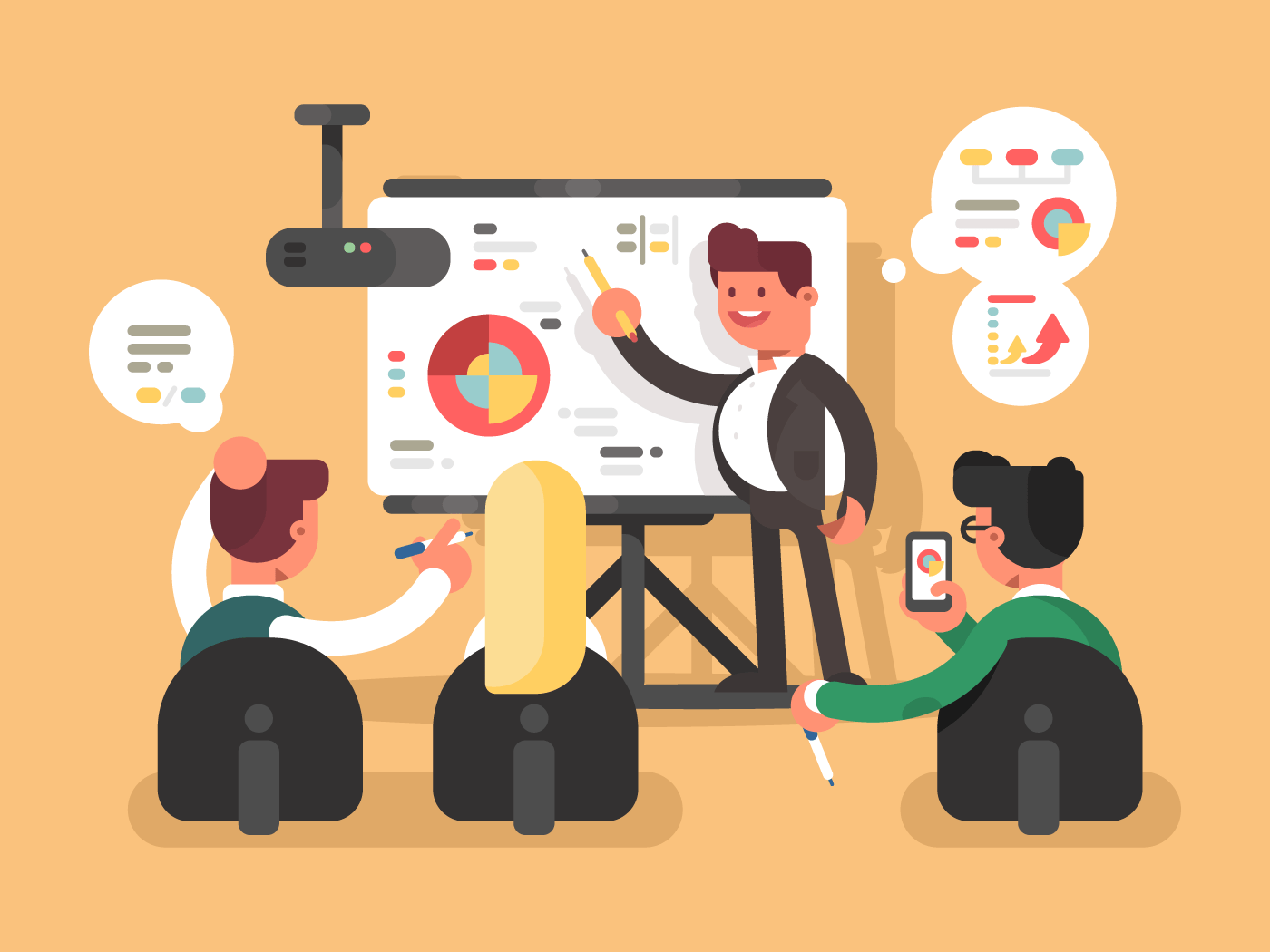 Business report presentation flat vector illustration