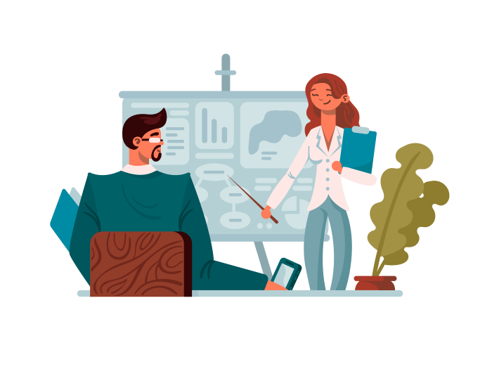 Business presentation in office illustration