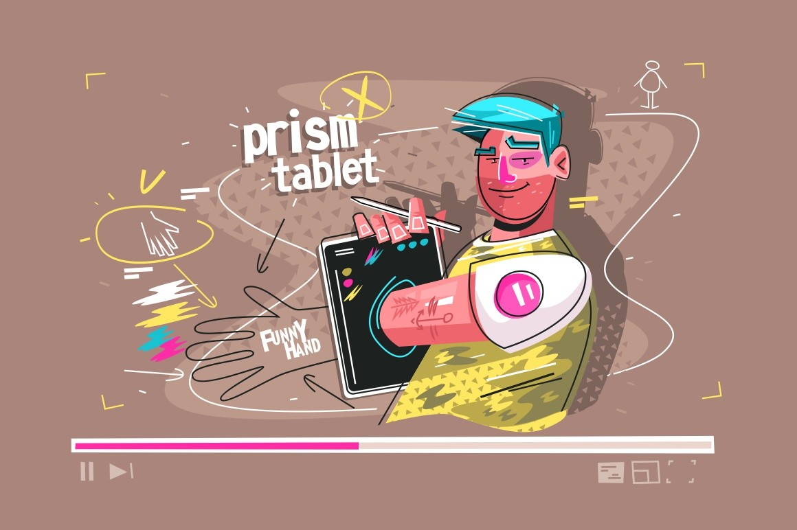Prism of tablet vector illustration. Cartoon smiling man demonstrating funny hand using modern gadget flat style design. Guy presenting video lesson. Latest technology concept