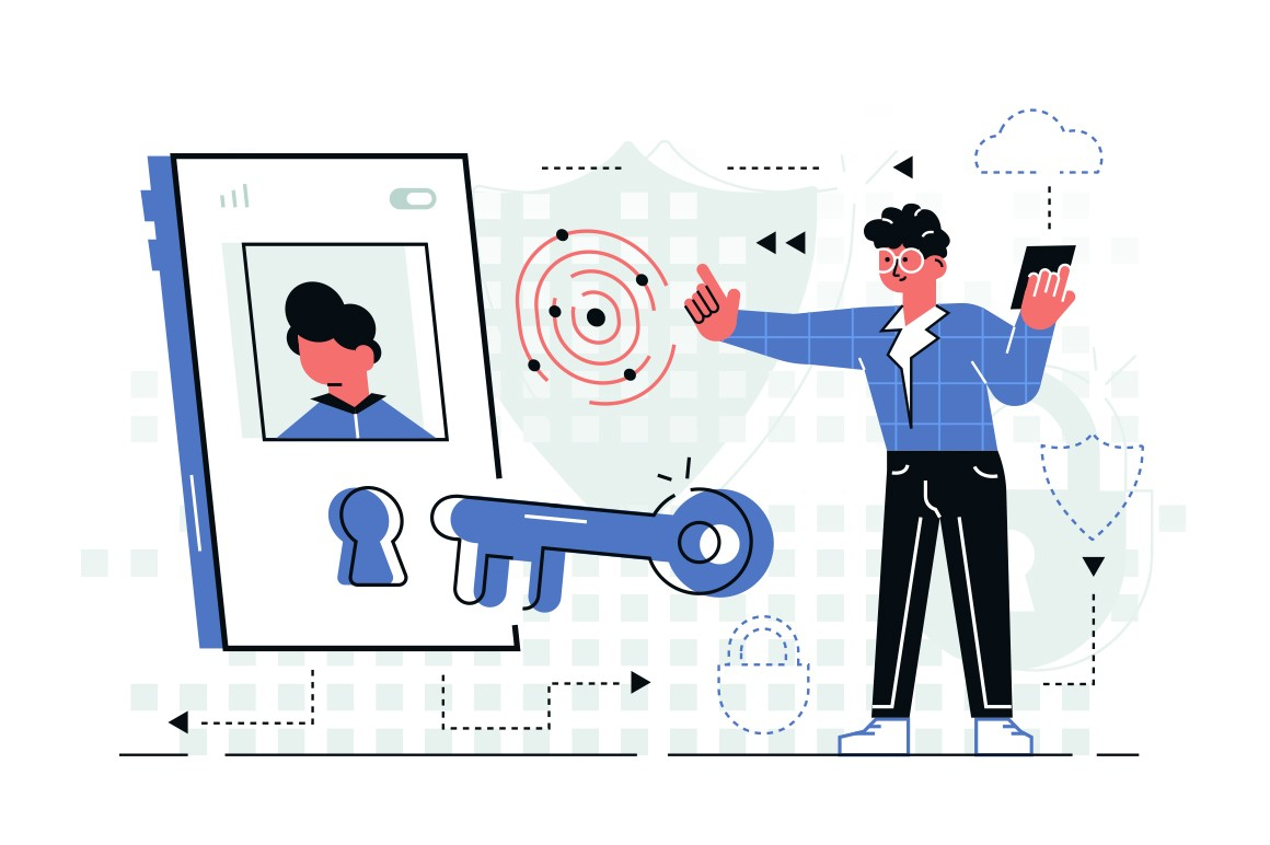 Man in high-tech room holding cellphone vector illustration. Young guy standing in virtual reality tablet icon and blocking social media flat style design. Privacy concept