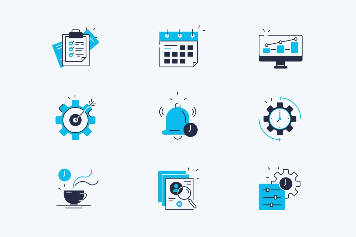 Marketing line icons set vector illustration. Composition consists of positive feedback, target, advertisement, global email, sales, keywords, attraction flat style concept. Isolated on white