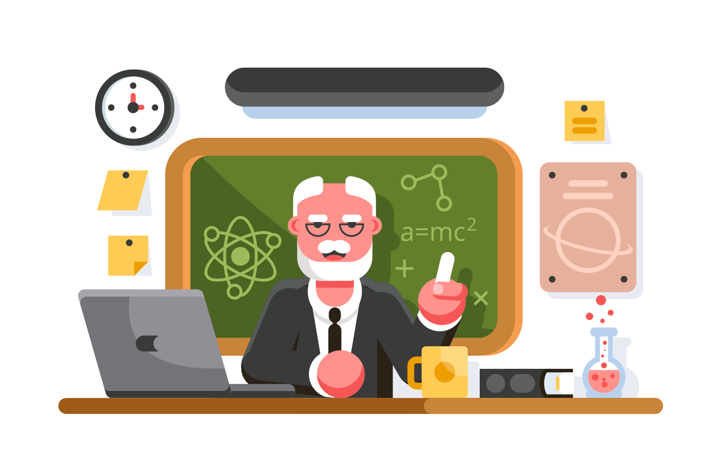Chemistry teacher in classroom on blackboard background. Professor in classroom. Education concept. Flat. Vector illustration.