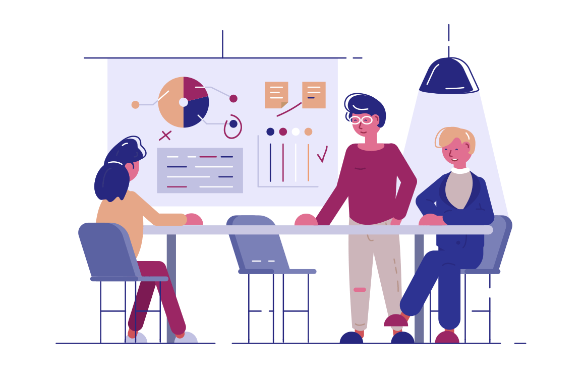 Team working at new project vector illustration. Women in meeting room discussing new startup flat style concept. Office interior. Projector with graphs charts and diagrams on background