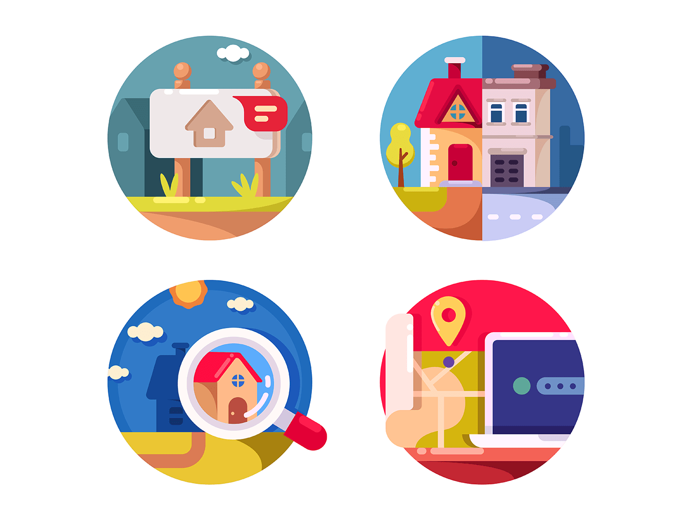 Real estate market icons
