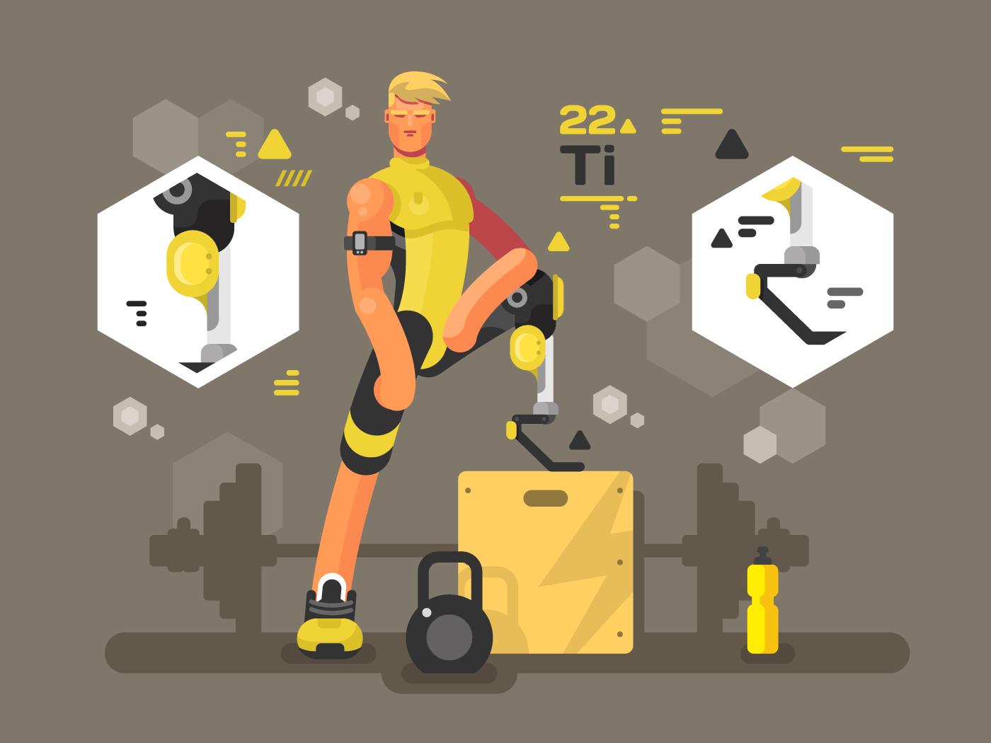 Sport prostheses flat vector illustration