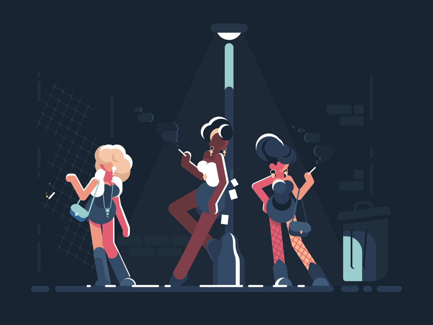 Prostitutes at work. Group of girls standing on street at night. Vector illustration