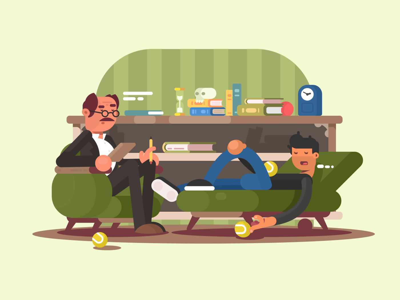 Psychologist man in office illustration