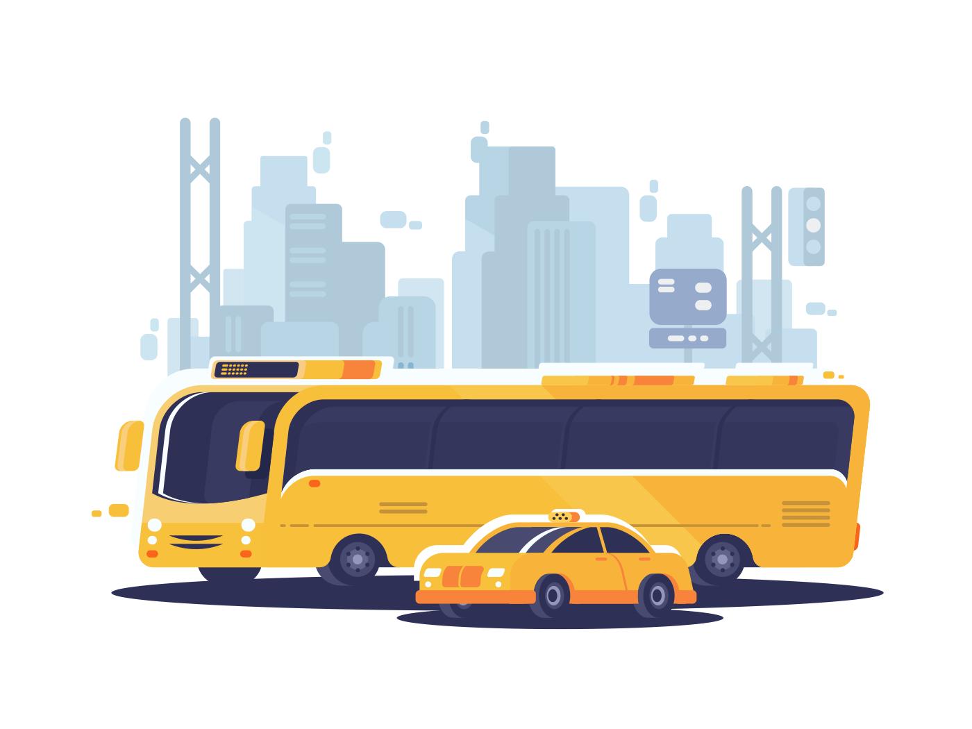 City public transport. Passenger bus and taxi car. Vector illustration