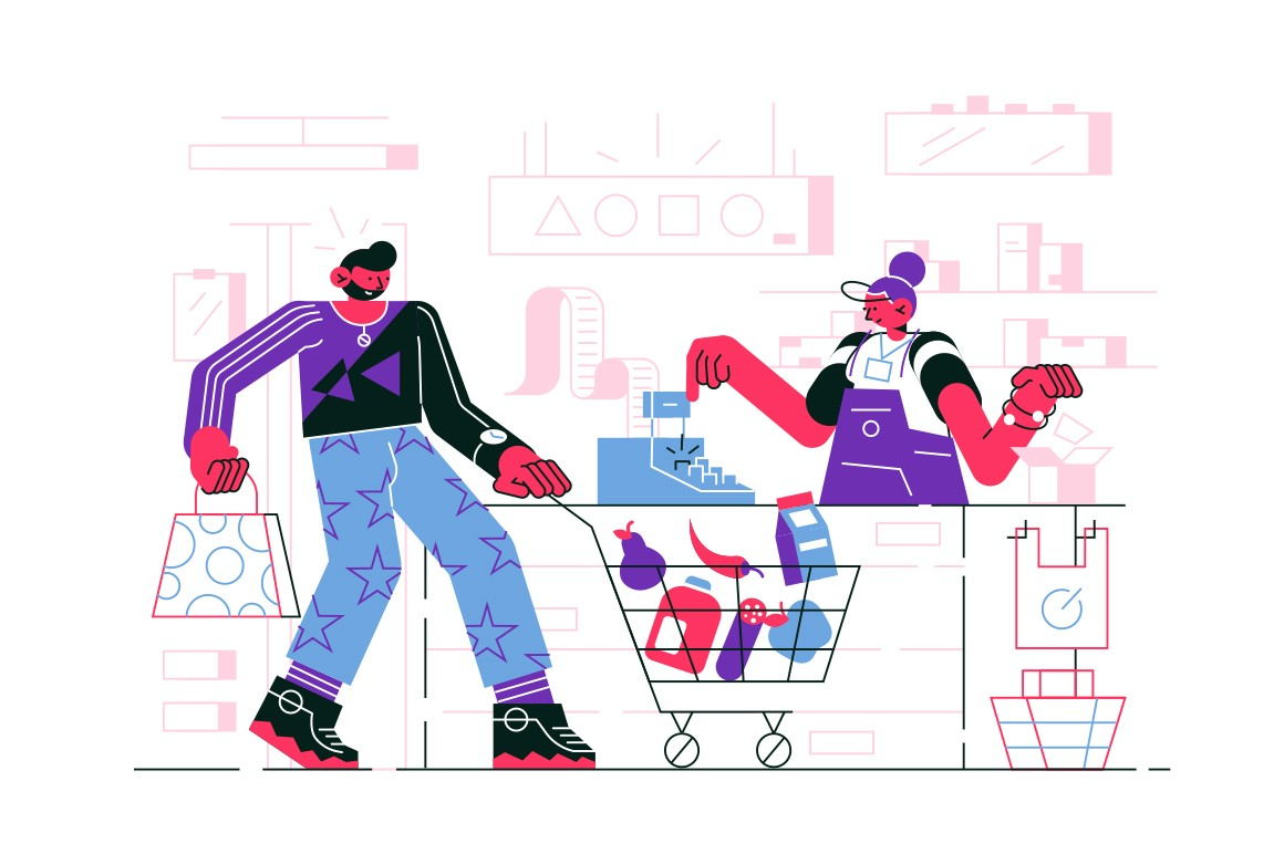 Man in supermarket vector illustration. Guy in casual clothes with trolley full of purchases standing near cash register in store flat style design. Shopping concept