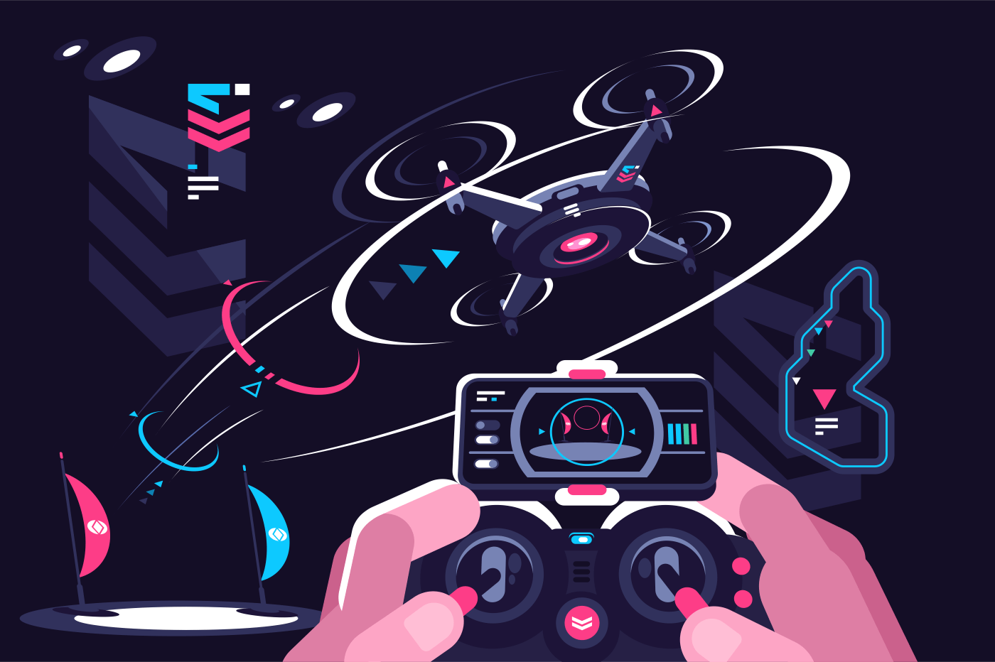Hands holding controller flying drone quadcopter. Flat. Vector illustration.