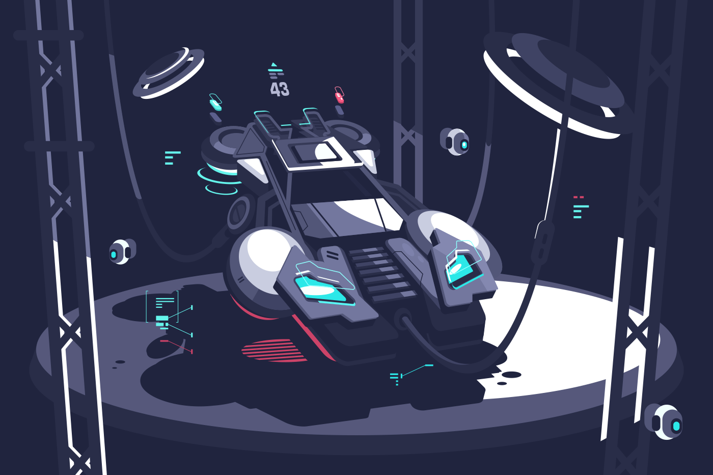 Flying racing car of future for sports competition. Vector illustration