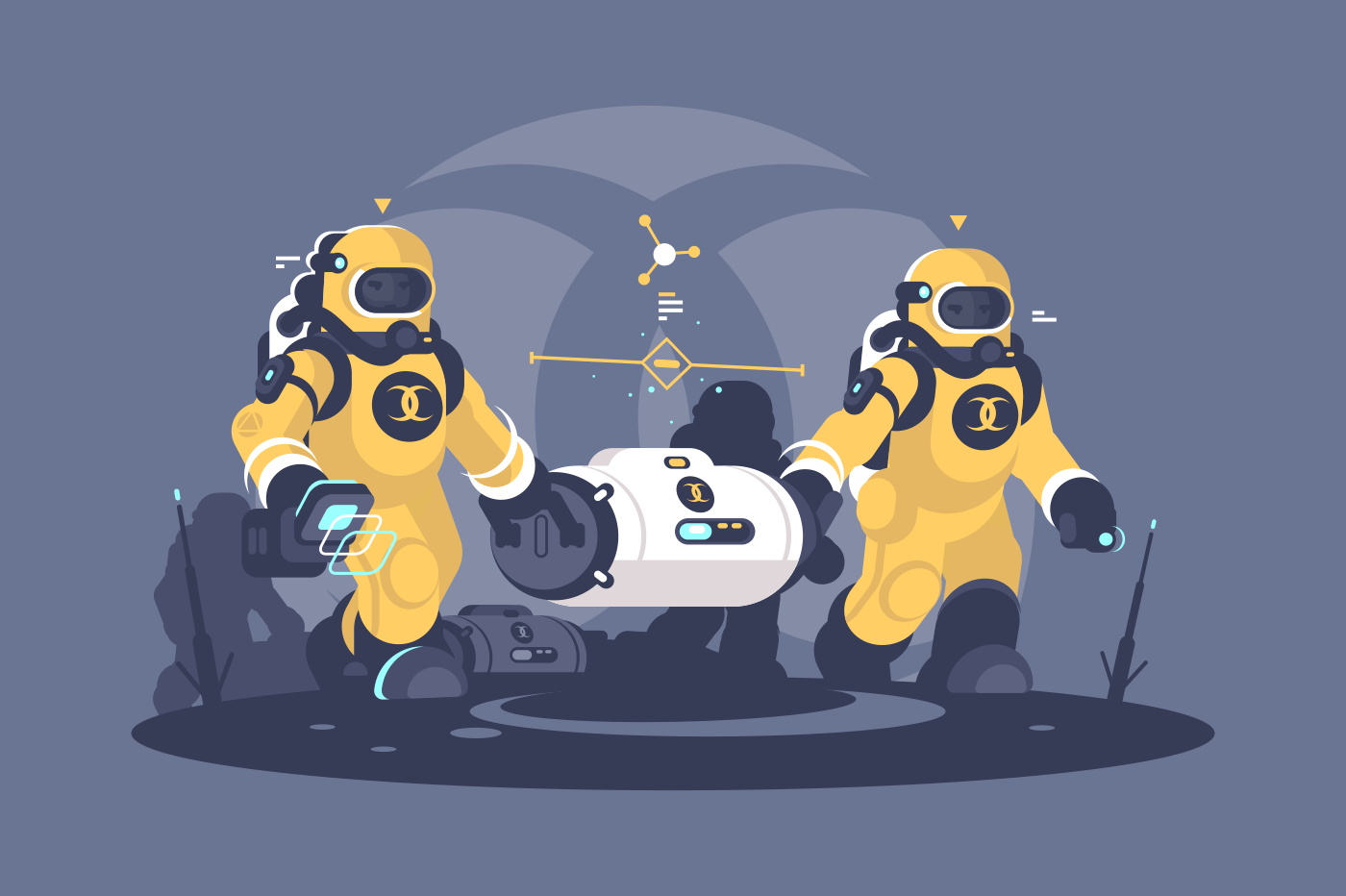 Two men holding radioactive weapon waste capsule. Workers chemists in protective uniform carrying chemical container. Flat. Vector illustration.