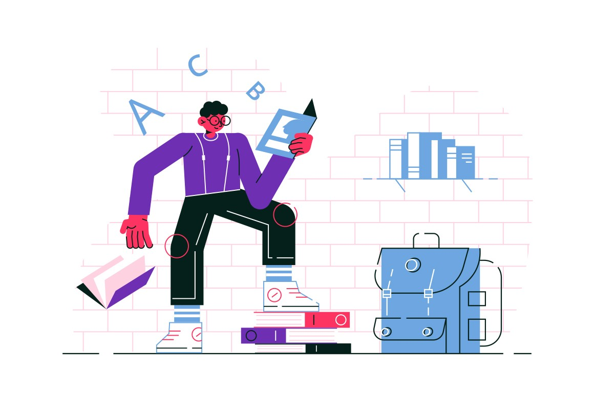 Guy reading book vector illustration. Man in casual clothes standing leaning on stack of textbooks and learning educational material flat style design