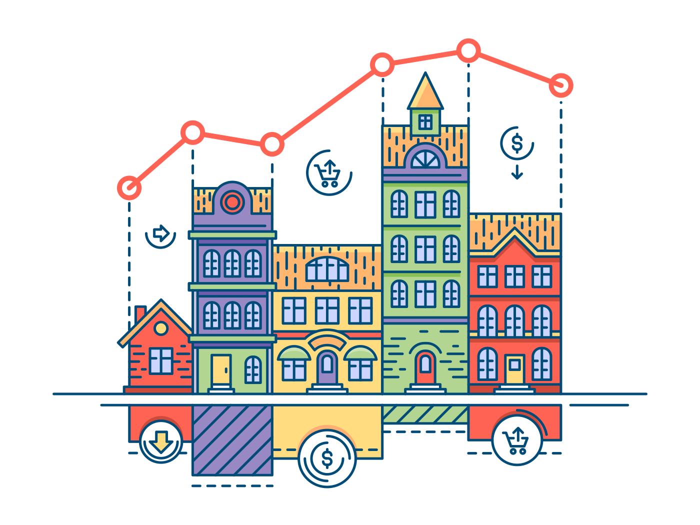 Real estate market line vector illustration