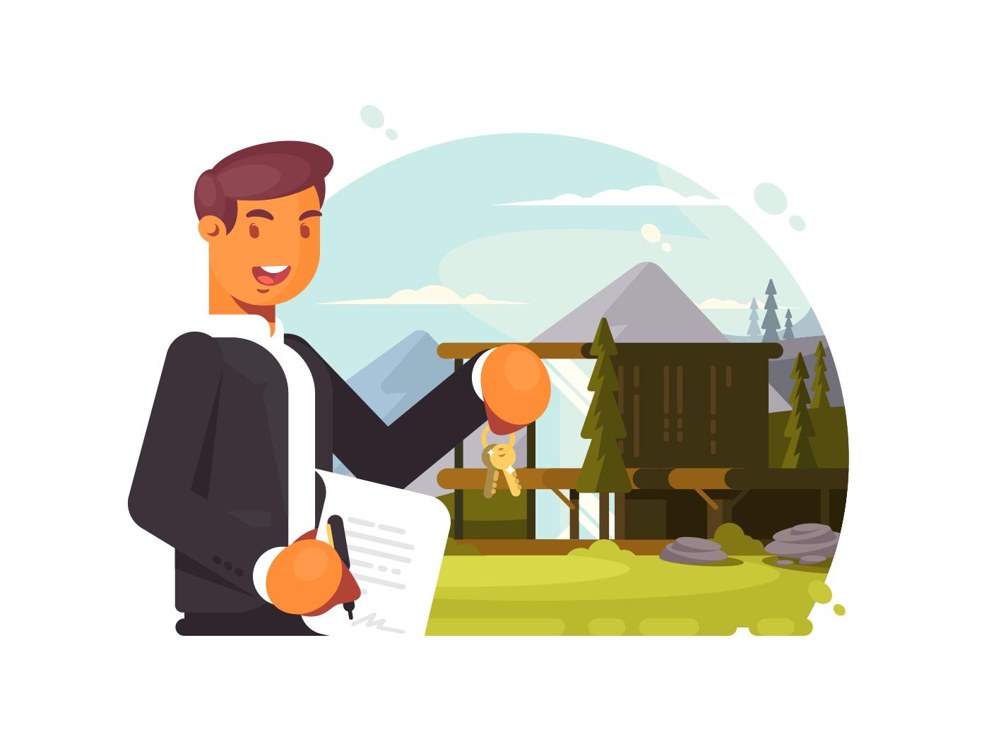 Successful realtor sells property illustration