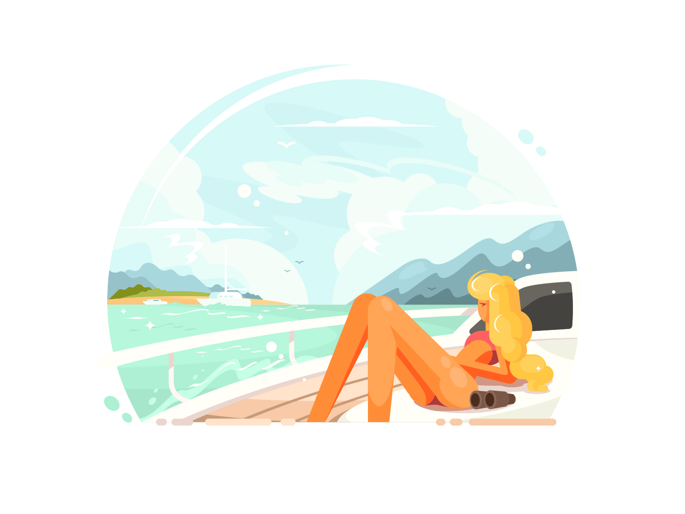 Blond girl relaxing on yacht illustration