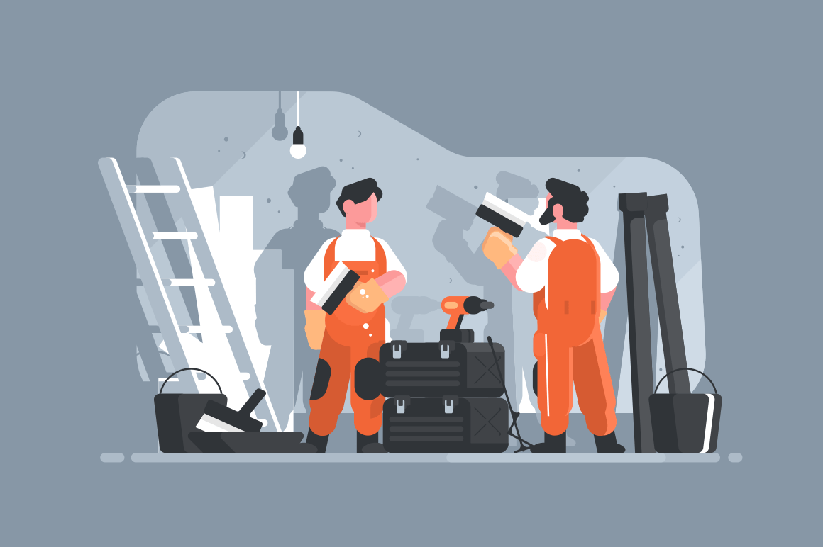 Home repair interior or remodeling vector illustration. Repairman doing renovation at home flat style concept. Work process at room. Special tools and equipment